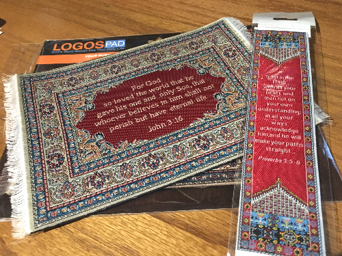 Mouse pad and bookmark from Logos Trading Post