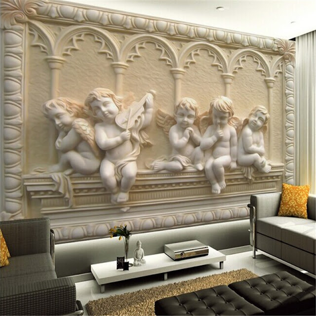 Mural wallpaper for home 3d European style painting stereoscopic relief jade living room bedroom photo wallpaper