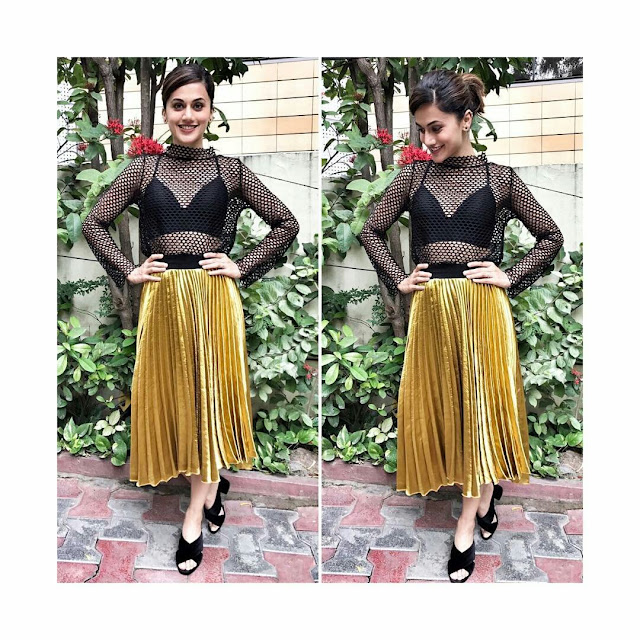 Actress taapsee at Anando Brahma Telugu Movie Promotions