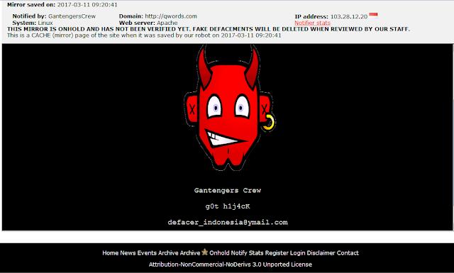 Website Layanan Hosting Dan Registrasi Domain, Qwords Di Bobol Hacker.