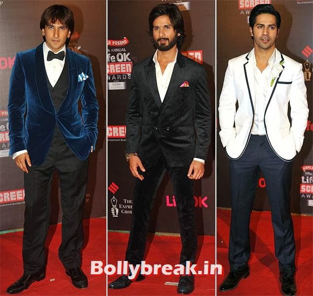 Ranveer Singh, Shahid Kapoor and Varun Dhawan, Life Ok Screen Awards 2014 Red Carpet Photos