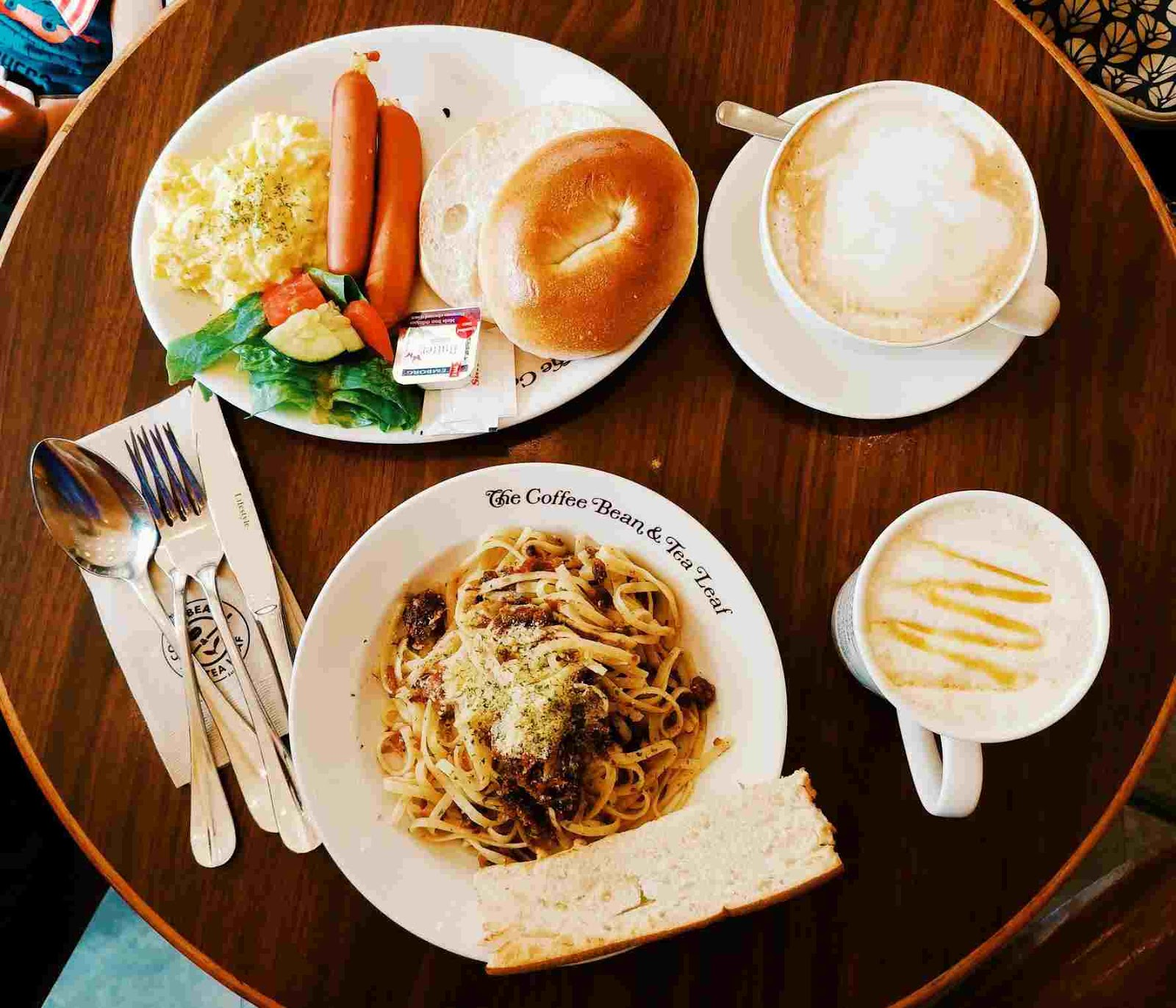 Breakfast spread like Brek O' Day and Sardine and Garlic Linguine at at The Coffee Bean and Tea Leaf