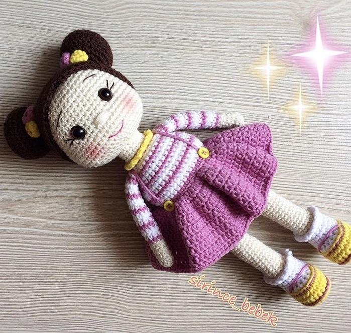 Amigurumi Mini Hanım Kız Bebek Yapımı - Örgü Modelleri | 662x699