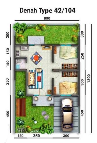 contoh denah rumah minimalis tipe 45/104 - desain rumah