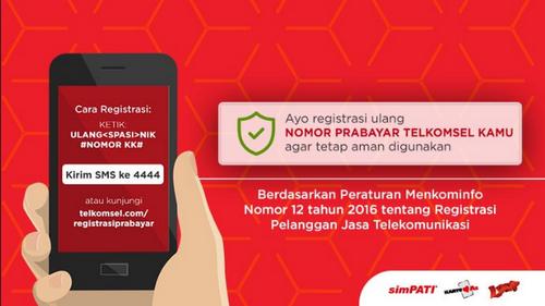 Untuk formatnya sendiri adalah ketik regnik#nomorkk#kirim ke 4444. Cara Daftar (Registrasi) Ulang Kartu Telkomsel | Serhamo ...