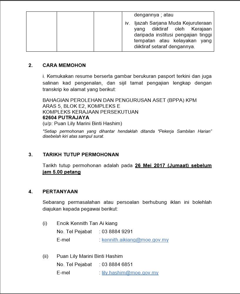 Jawatan Kosong Kementerian Pendidikan Malaysia Moe Mobile