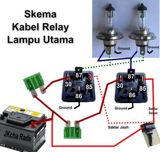 Daihatsu Charade G10 Indonesia  Skema Kabel Relay Lampu Depan