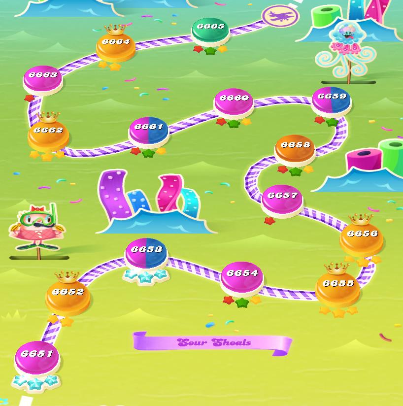 Candy Crush Saga level 6651-6665