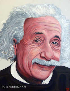 Albert Einstein by Boulder portrait artist Tom Roderick