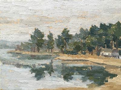 #47 'Frensham Little Pond' 6×8″