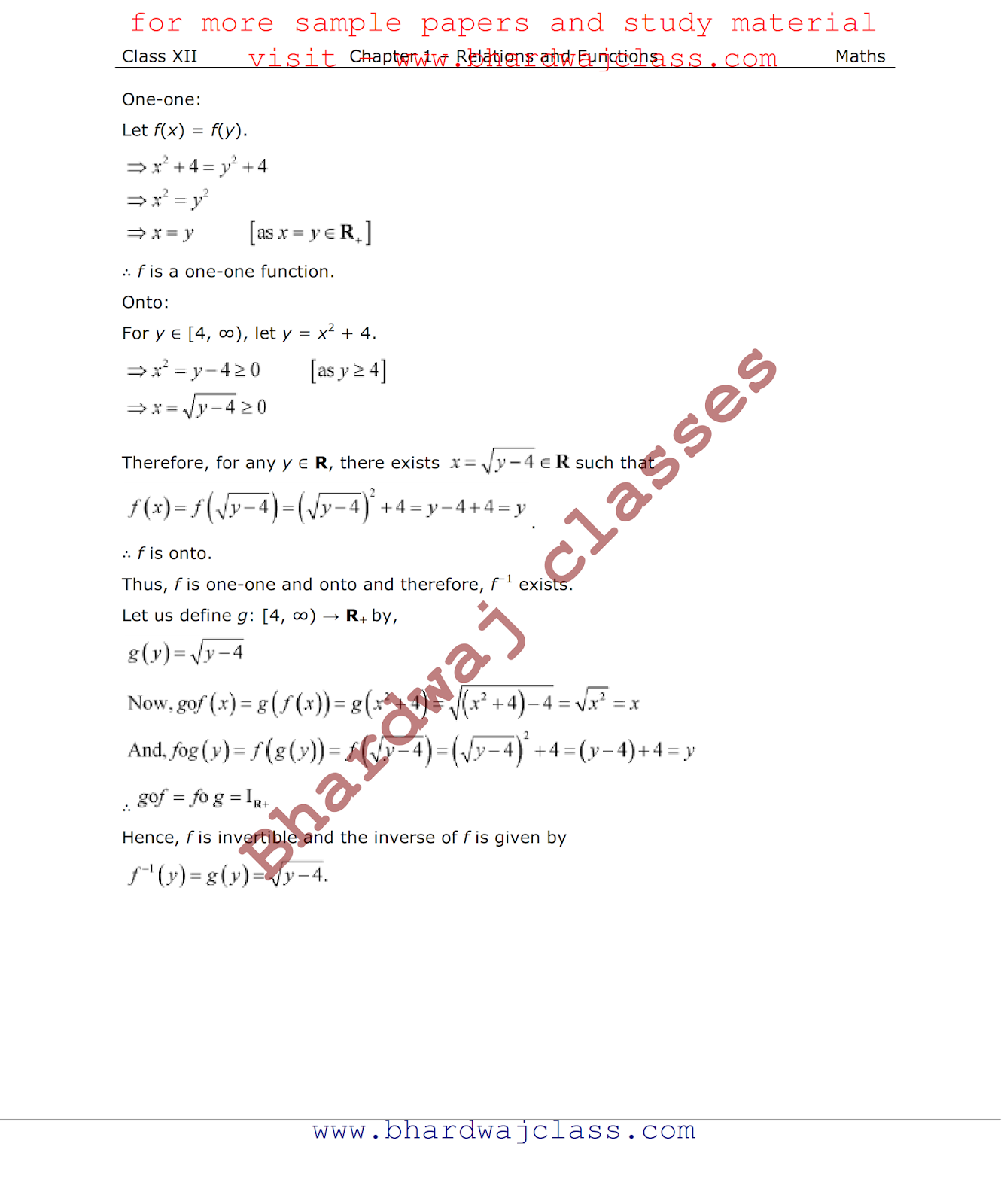 NCERT Solution class 12 maths chapter 1