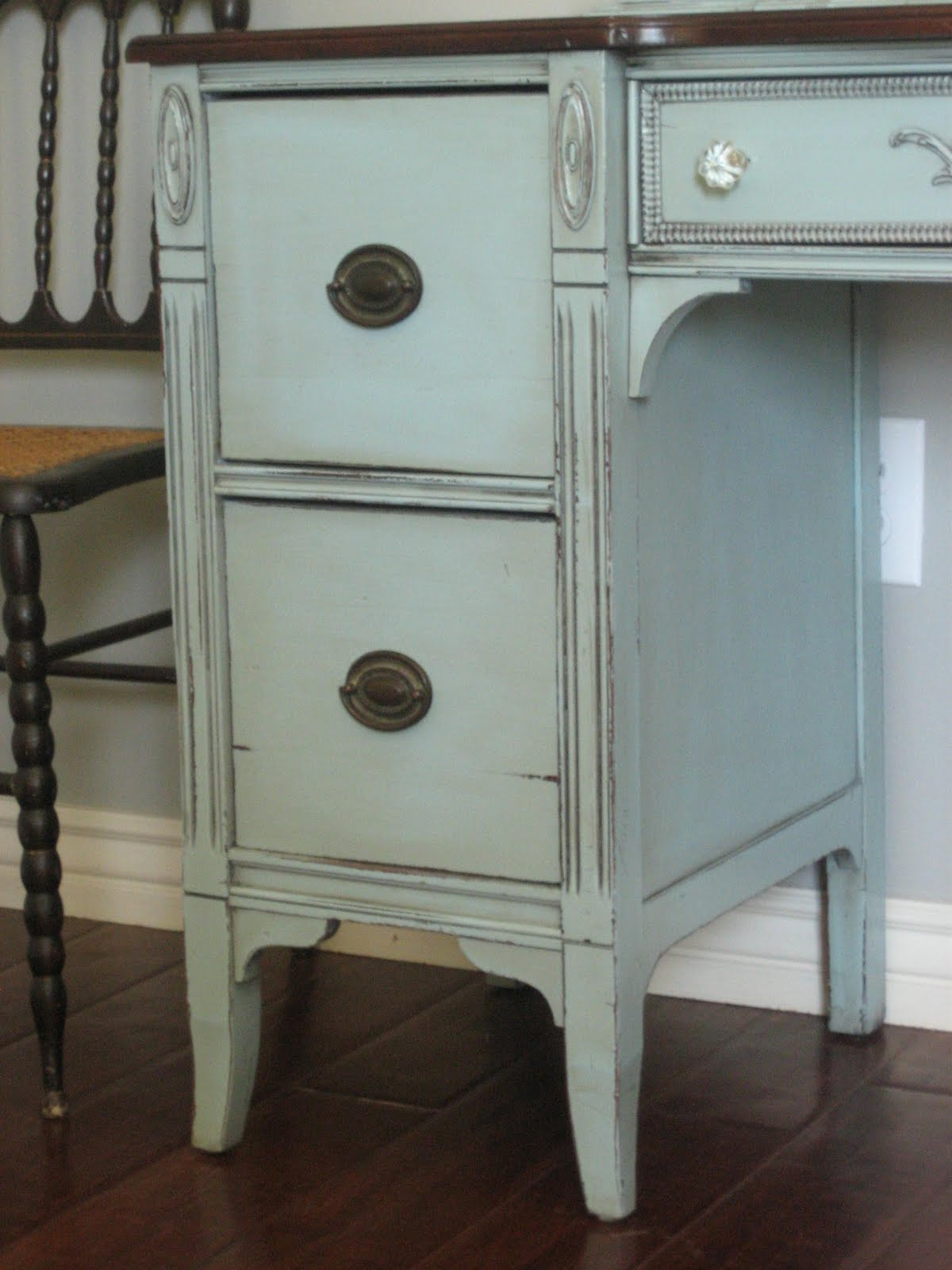 European Paint Finishes Blue Gray Vanity
