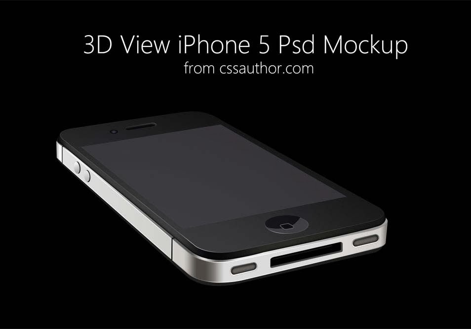 iPhone 3D View PSD Mockup