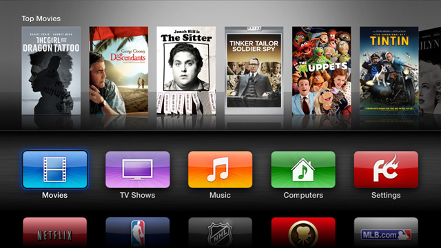 Tela da Apple TV jailbroken