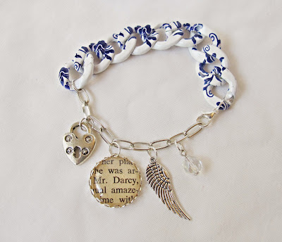 image two cheeky monkeys literature charm bracelet chunky printed chain blue and white jewellery mr darcy pride and prejudice jane austen