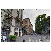 Tram 16 cuts across tree-lined Viale Monte Nero, east of Milan, where it crosses Via Bergamo, a lively intersection with several restaurants cafes