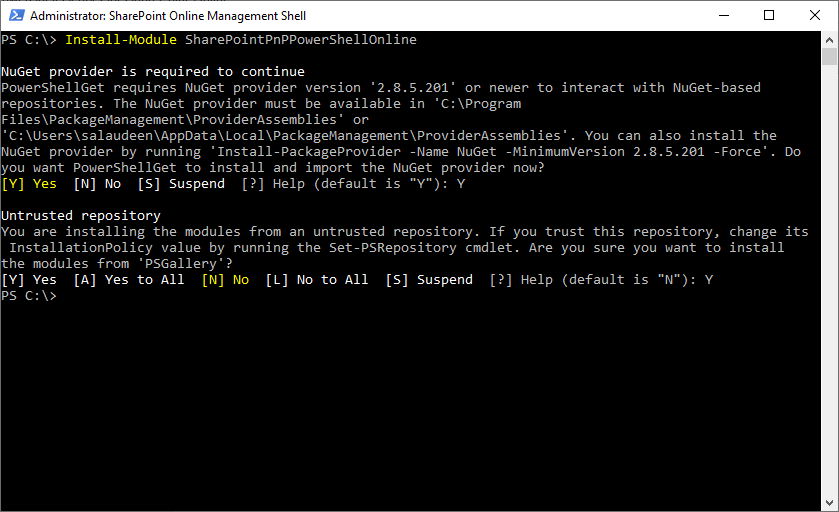 install sharepoint online pnp powershell module