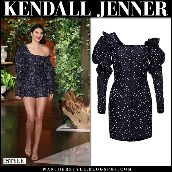 Kendall Jenner in navy polka dot one shoulder dress magda butrym fashion march 15
