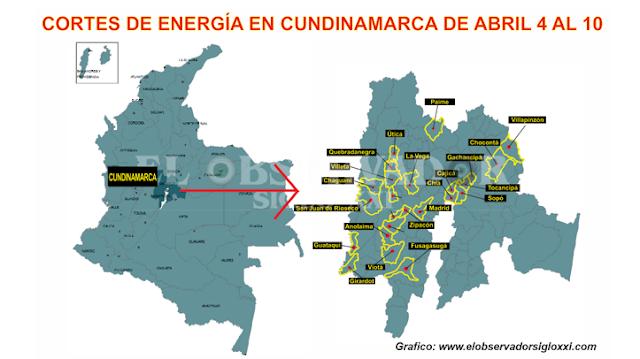 Nuevos cortes de energía por parte de Codensa en Cundinamarca de Abril 4 al 10