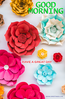 Good morning Paper flowers Greetings card Images.