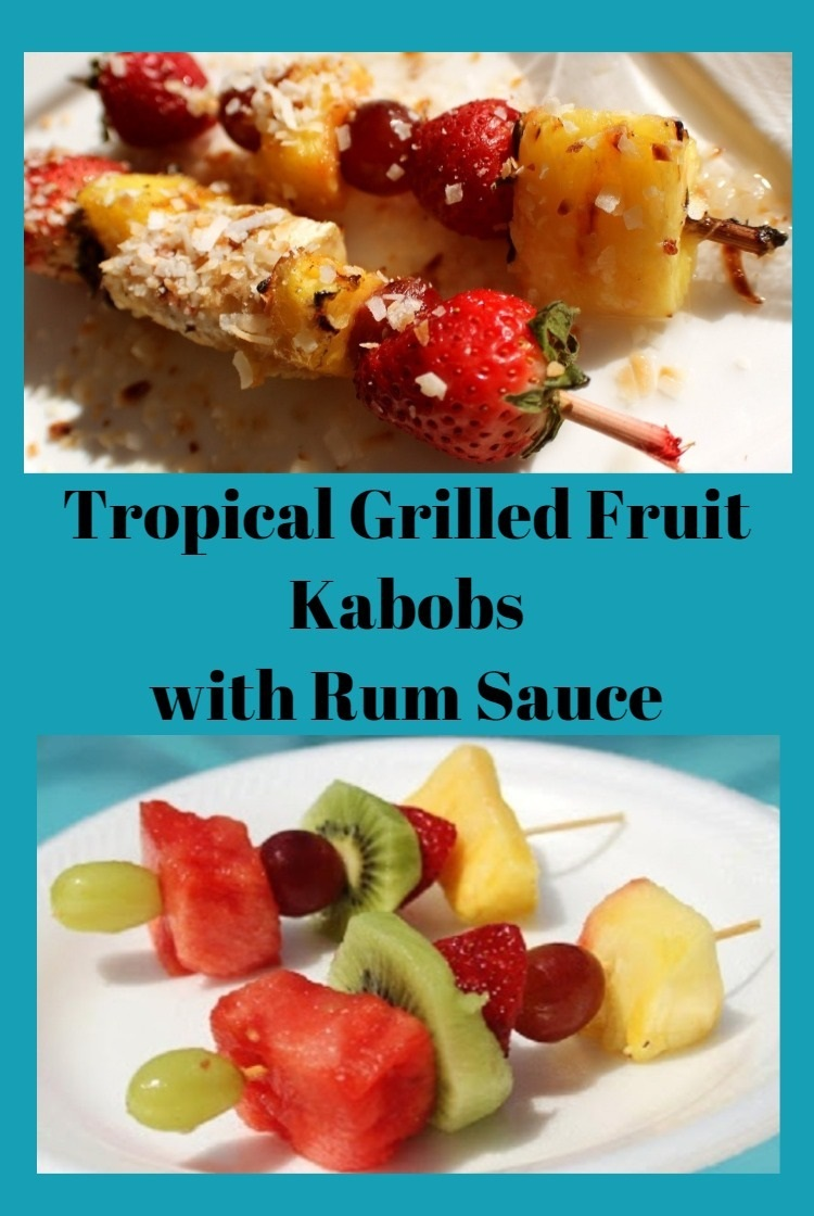 This is grilled fruit kabob for a barbecue in the backyard. The fruits are pineapple, cherry, strawberry with a coconut rum sauce. This is an easy dessert for the grill and great idea for a quick and easy dessert for any backyard family picnic food.
