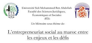 Mémoire: L'entrepreneuriat social au Maroc entre les enjeux et les défis