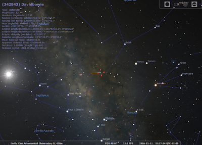 screen snapshot from Stellarium showing asteroid location