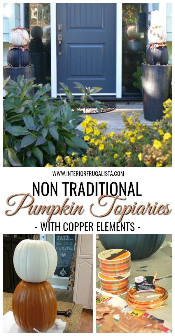Non Traditional Pumpkin Topiaries With Copper Elements