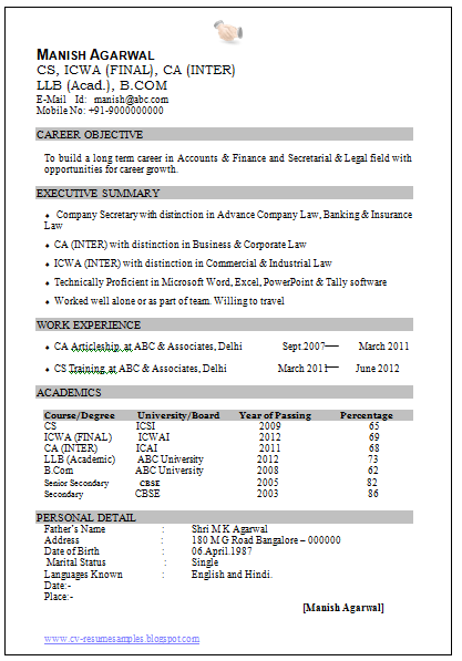 Resume Format For Ca Articleship Resume Format For Ca