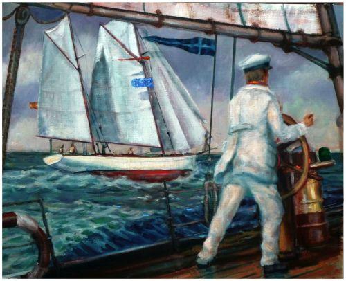 Pintura al óleo de dos goletas navegando en una regata
