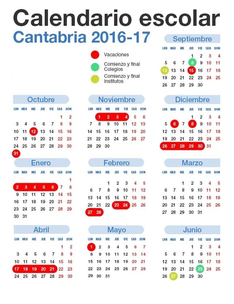 Calendario Escolar 18 19 Cantabria.Colegio Jesus Cancio Calendario Escolar Cantabria 2016 2017