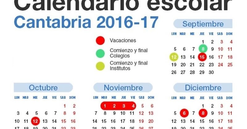 Colegio Jesús Cancio: Calendario escolar Cantabria 2016-2017