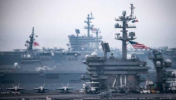 Diambang Perang Dunia III? 4 Kapal Induk AS Kepung Korea Utara