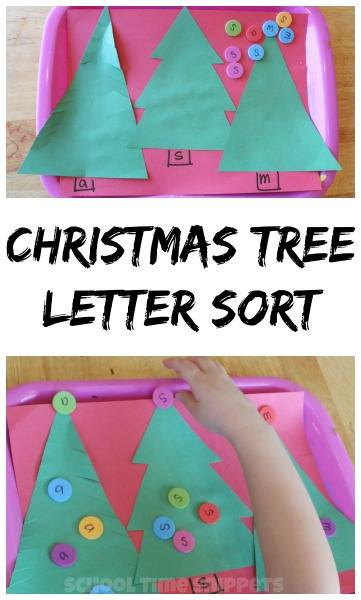 preschool letter sorting christmas trees