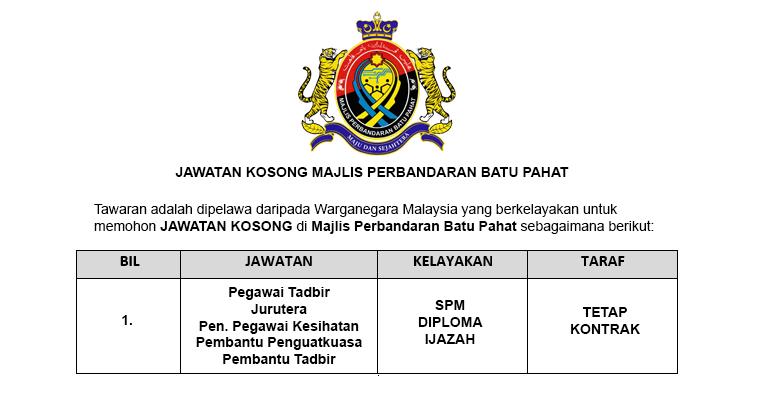Jawatan Kosong di Majlis Perbandaran Batu Pahat MPBP