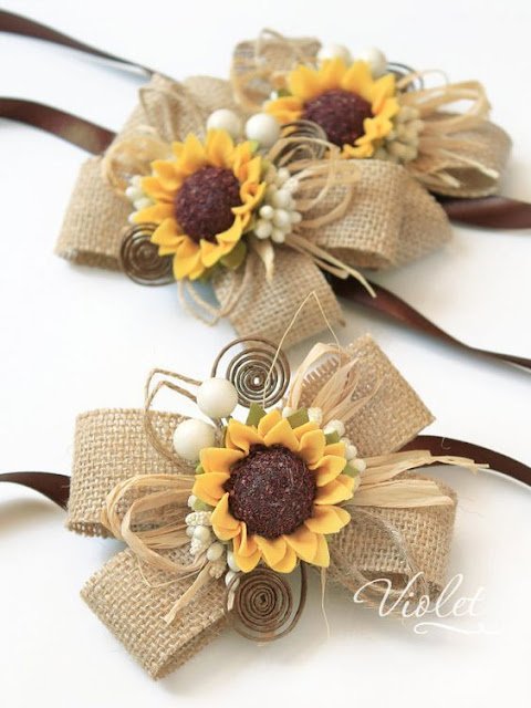 sunflower wrist corsages