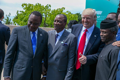 President Kenyatta with POTUS Trump in Italy. PHOTO | COURTESY