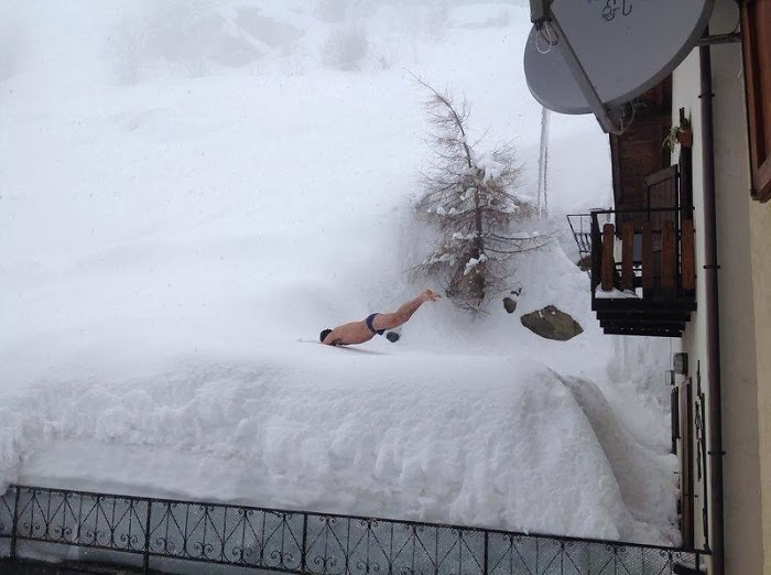 That Man Decided To Dive Into The Snow
