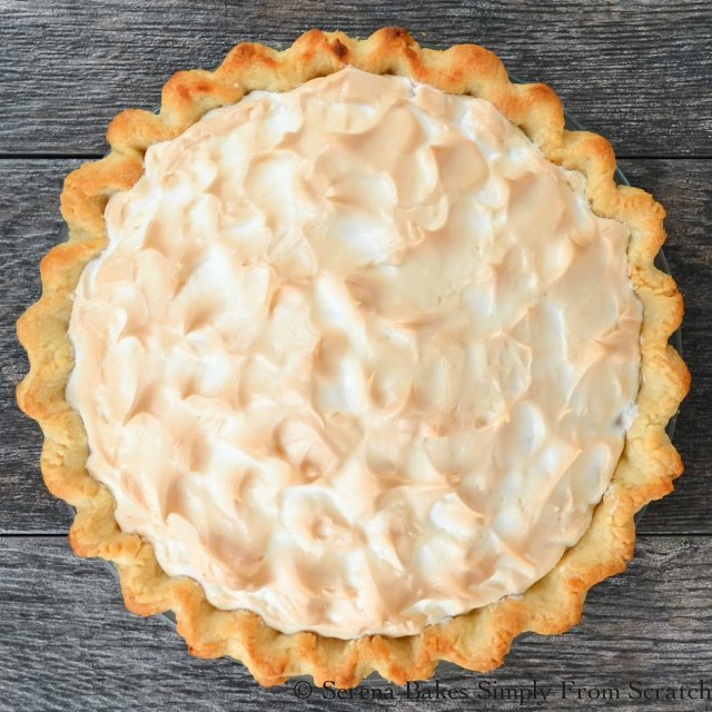 Lemon Meringue Pie recipe with weep free meringue is a must for Thanksgiving and Christmas dessert tables from Serena Bakes Simply From Scratch.