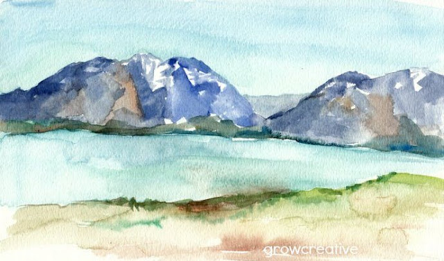 watercolor landscape sketch: growcreativeblog