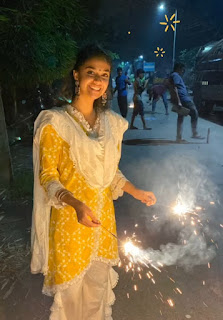 Keerthy Suresh in Yellow Dress with Cute Smile Celebrating Diwali