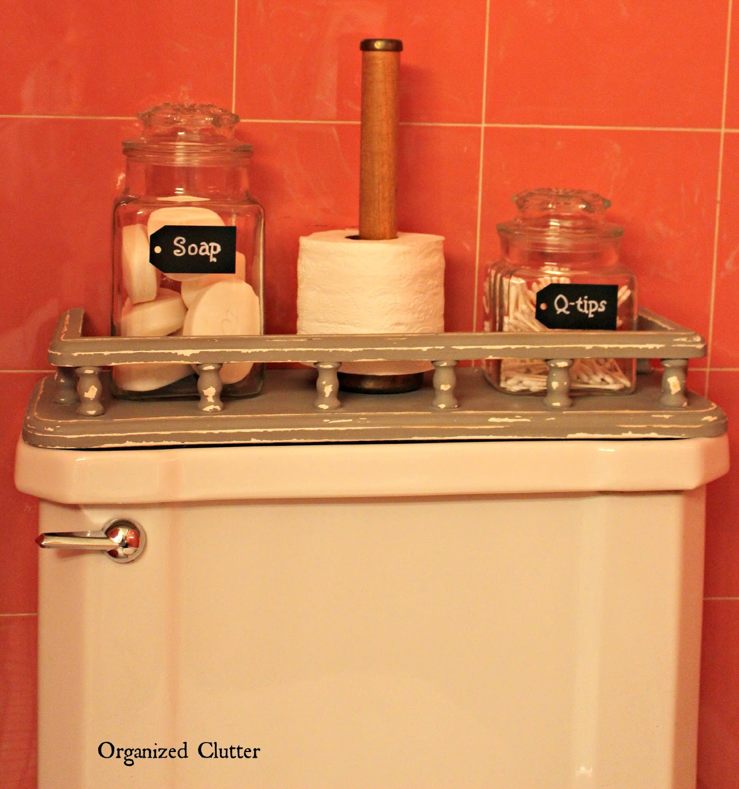 Annie Sloan French Linen Upcyled Toilet Shelf www.organizedclutterqueen.blogspot.com