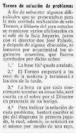 REcorte de prensa sobre el torneo de resolución de problemas de ajedrez en 1915 en la Sala Imperio de Barcelona