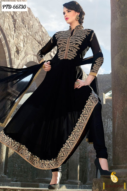 Best Anarkali Style Black Color Georgette Party Wear Salwar Suits In Lowest Price Range In India