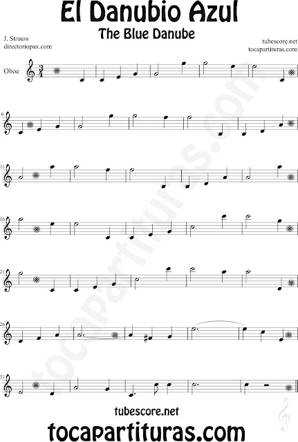 Partitura de El Danubio Azul para Oboe de Johann Strauss The Blue Danube Sheet Music for Oboe Classical music