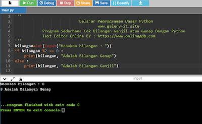 Belajar Python Pemula ; Program Sederhana Cek Bilangan Ganjil atau Genap