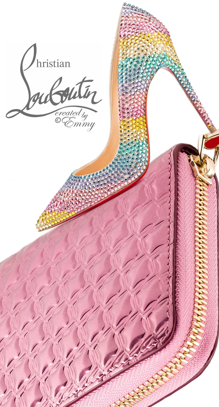 Brilliant Luxury ♦ Christian Louboutin Soft Rainbow Suede & Panettone Zipped Continental Wallet