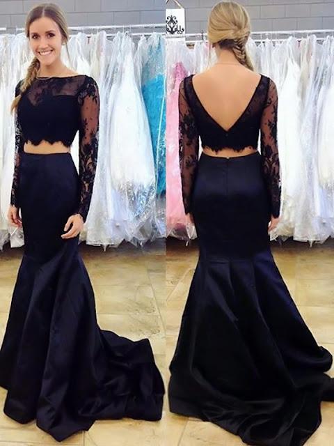 Two Piece Trumpet/Mermaid Black Silk-like Satin Lace Sweep Train Long Sleeve Prom Dress