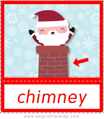 chimney, Christmas flashcards free download