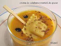 Crema de Calabaza y Ravioli de Quesos